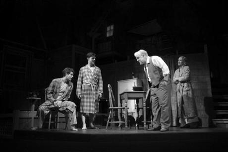 "From left: Andrew Garfield, Finn Wittrock, Philip Sey­­-mour Hoffman, Linda Emond in ""Death of a Salesman."""